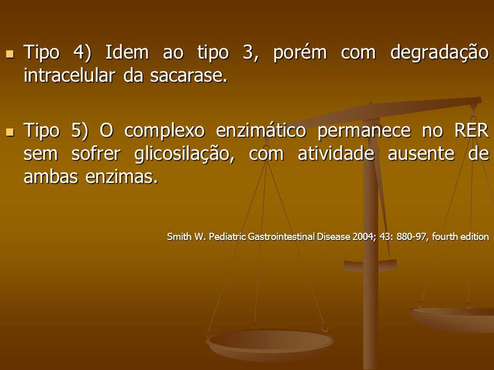 Tipo 4) Idem ao tipo 3, porém com degradação intracelular da sacarase.