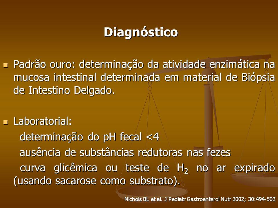 Diagnóstico Diagnóstico Padrão ouro: determinação da atividade enzimática na mucosa intestinal determinada em material de Biópsia de Intestino Delgado.