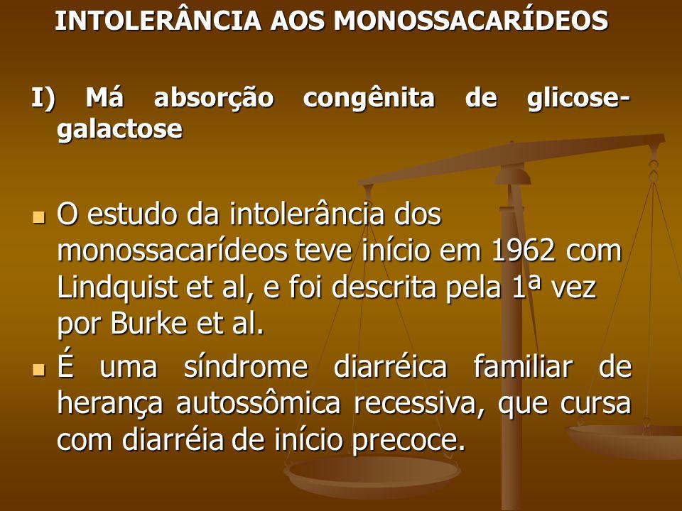 INTOLERÂNCIA AOS MONOSSACARÍDEOS I) Má absorção congênita de glicose- galactose O estudo da intolerância dos monossacarídeos teve início em 1962 com Lindquist et al, e foi descrita pela 1ª vez por Burke et al.