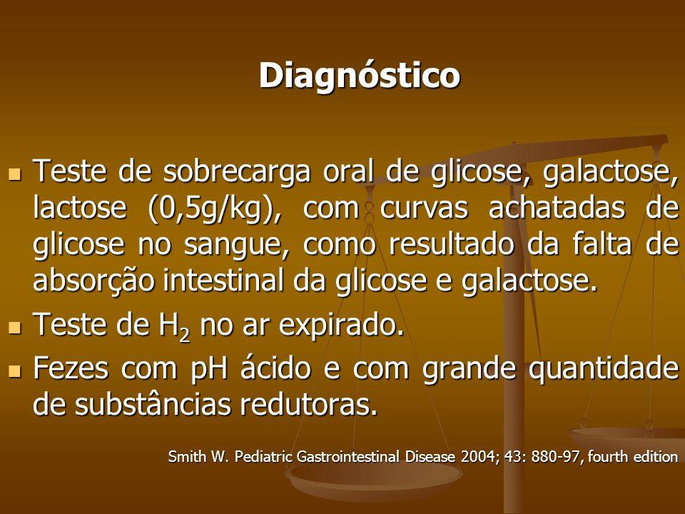 Diagnóstico Teste de sobrecarga oral de glicose, galactose, lactose (0,5g/kg), com curvas achatadas de glicose no sangue, como resultado da falta de absorção intestinal da glicose e galactose.