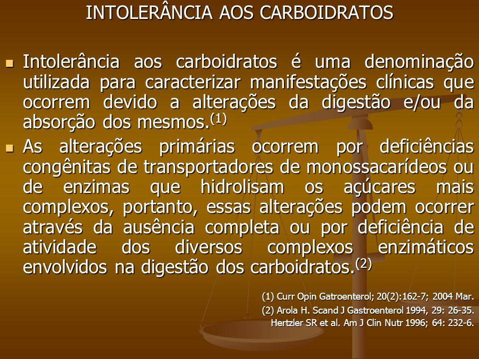 INTOLERÂNCIA AOS CARBOIDRATOS Intolerância aos carboidratos é uma denominação utilizada para caracterizar manifestações clínicas que ocorrem devido a alterações da digestão e/ou da absorção dos mesmos.