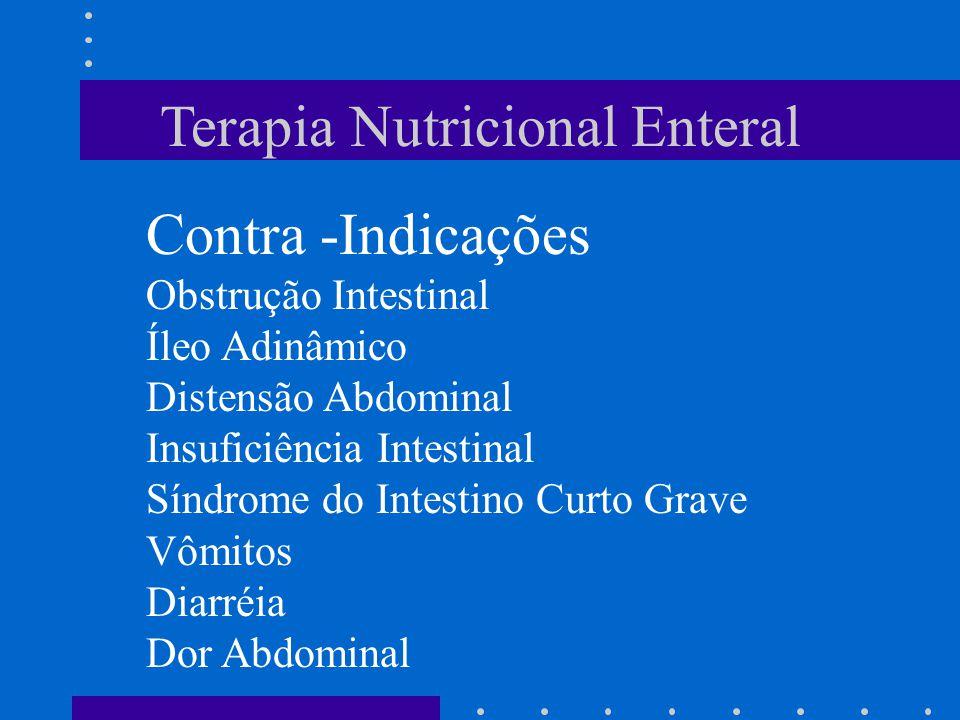 Terapia Nutricional Enteral Contra -Indicações Obstrução Intestinal Íleo Adinâmico Distensão Abdominal Insuficiência Intestinal Síndrome do Intestino