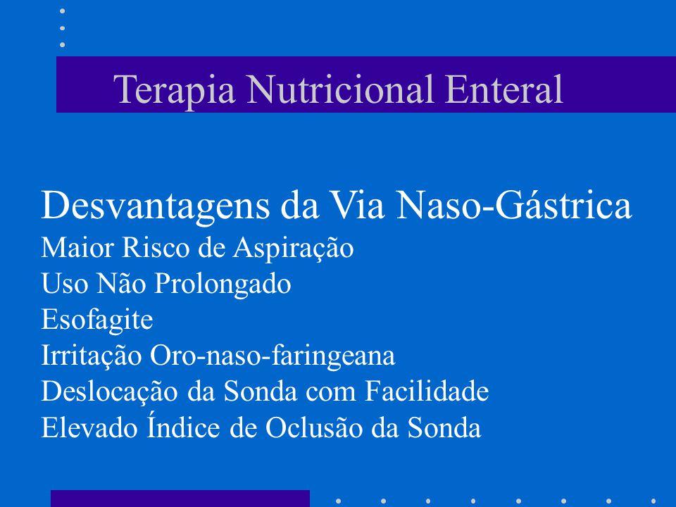 Terapia Nutricional Enteral Desvantagens da Via Naso-Gástrica Maior Risco de Aspiração Uso Não Prolongado Esofagite Irritação Oro-naso-faringeana Desl