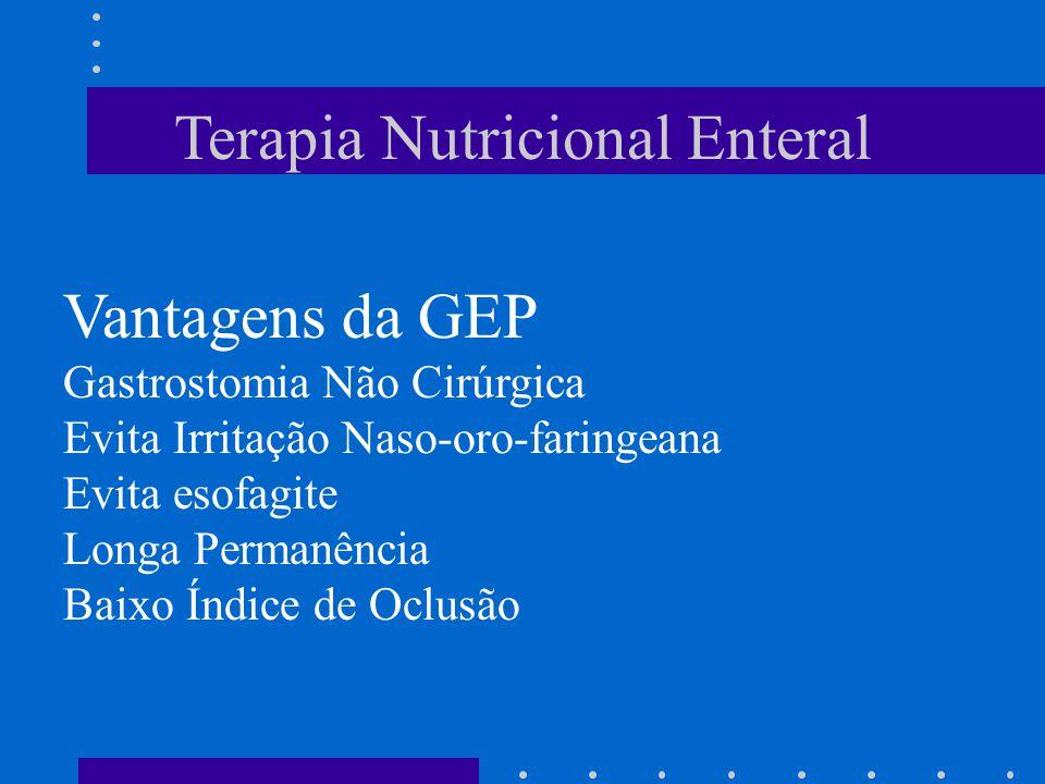 Terapia Nutricional Enteral Vantagens da GEP Gastrostomia Não Cirúrgica Evita Irritação Naso-oro-faringeana Evita esofagite Longa Permanência Baixo Ín