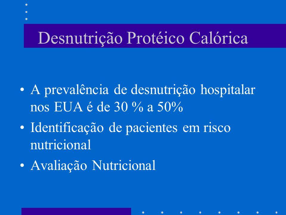 Desnutrição Protéico Calórica A prevalência de desnutrição hospitalar nos EUA é de 30 % a 50% Identificação de pacientes em risco nutricional Avaliaçã