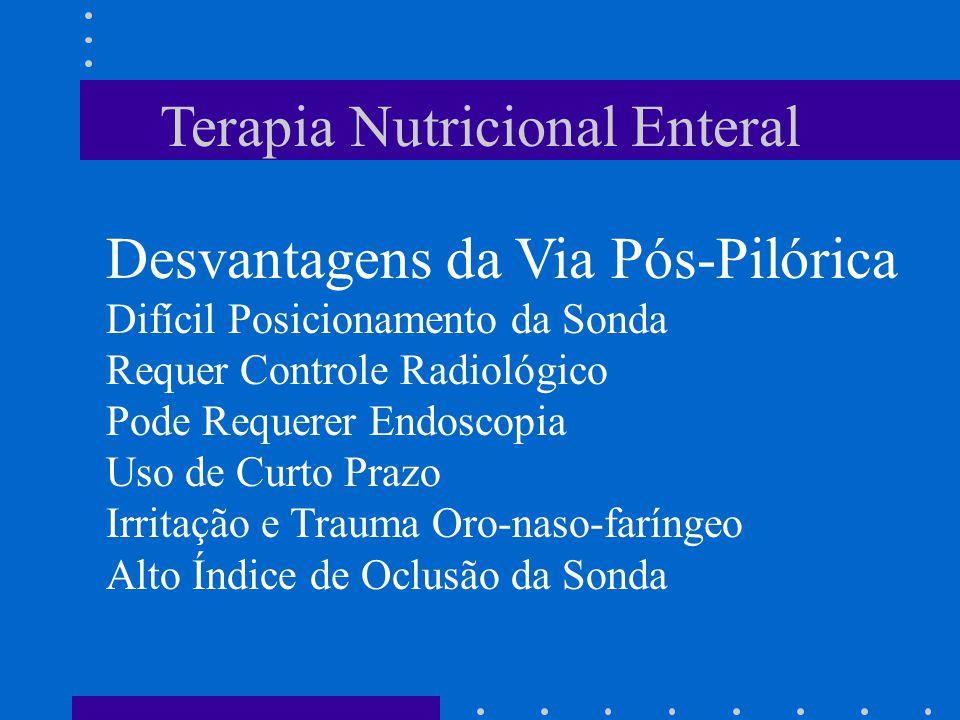 Terapia Nutricional Enteral Desvantagens da Via Pós-Pilórica Difícil Posicionamento da Sonda Requer Controle Radiológico Pode Requerer Endoscopia Uso