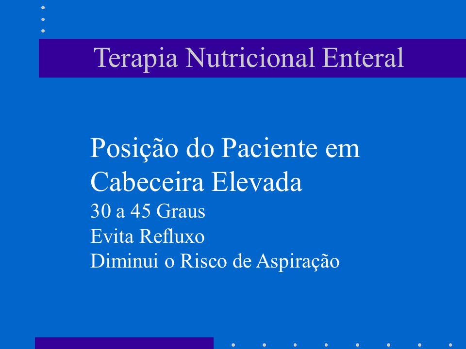 Terapia Nutricional Enteral Posição do Paciente em Cabeceira Elevada 30 a 45 Graus Evita Refluxo Diminui o Risco de Aspiração