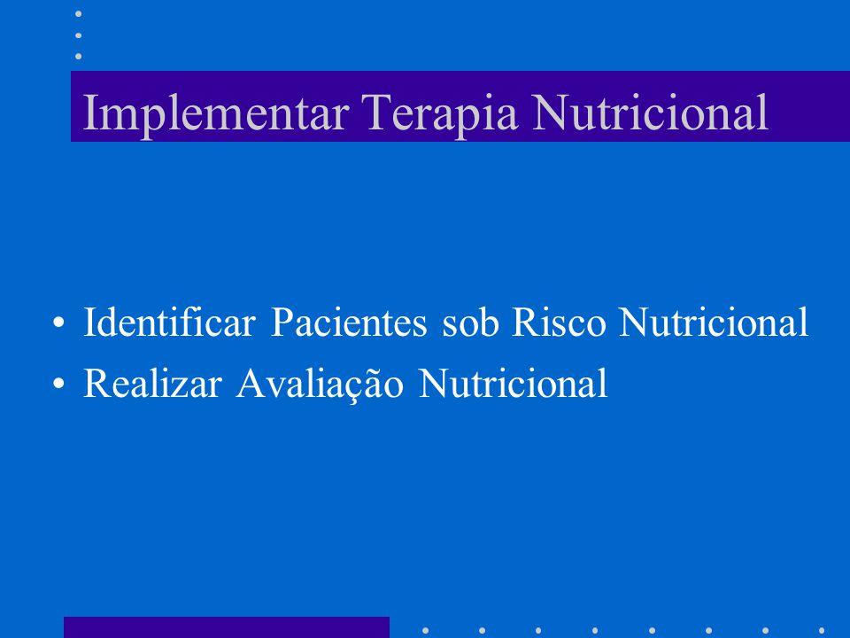 Implementar Terapia Nutricional Identificar Pacientes sob Risco Nutricional Realizar Avaliação Nutricional