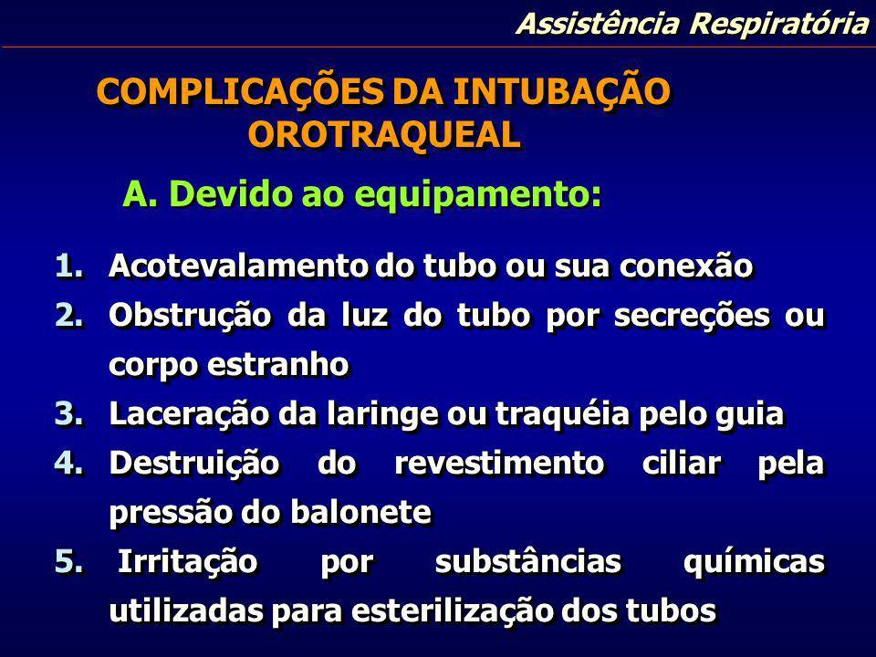 Assistência Respiratória COMPLICAÇÕES DA INTUBAÇÃO OROTRAQUEAL 1.Acotevalamento do tubo ou sua conexão 2.Obstrução da luz do tubo por secreções ou cor