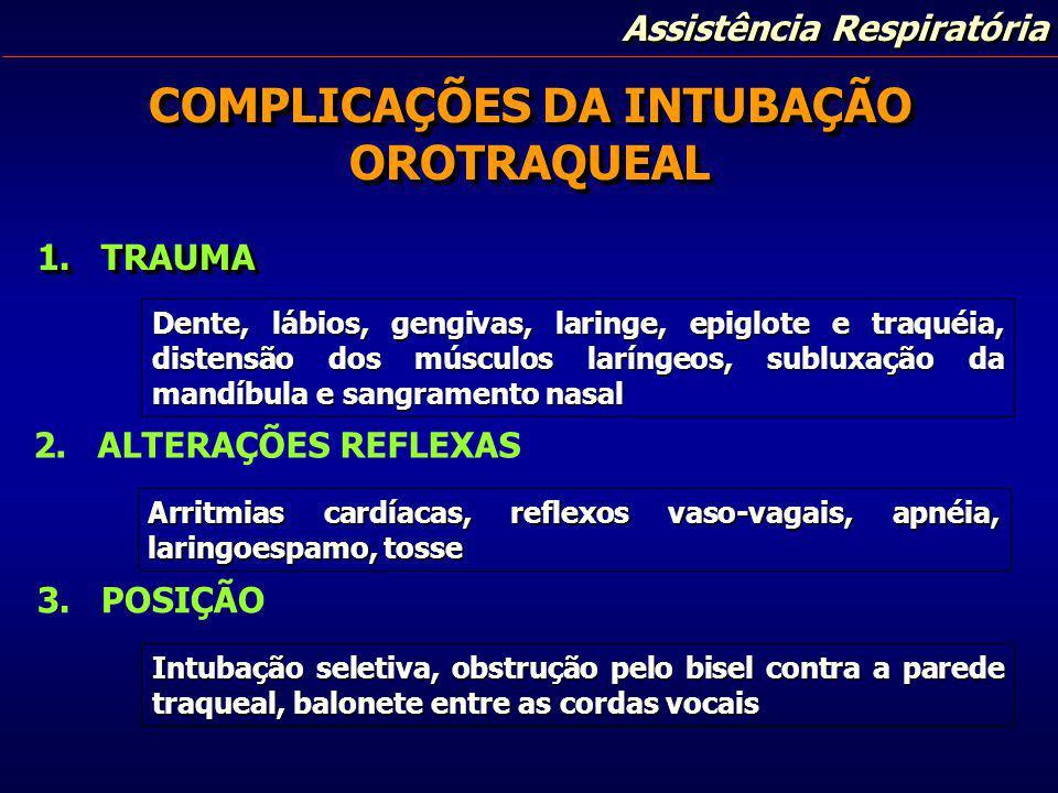 COMPLICAÇÕES DA INTUBAÇÃO OROTRAQUEAL 1. TRAUMA Dente, lábios, gengivas, laringe, epiglote e traquéia, distensão dos músculos laríngeos, subluxação da