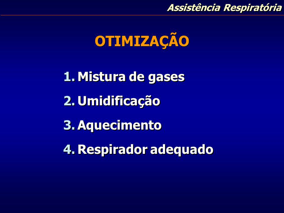 Assistência Respiratória OTIMIZAÇÃO 1.Mistura de gases 2.Umidificação 3.Aquecimento 4.Respirador adequado 1.Mistura de gases 2.Umidificação 3.Aquecime