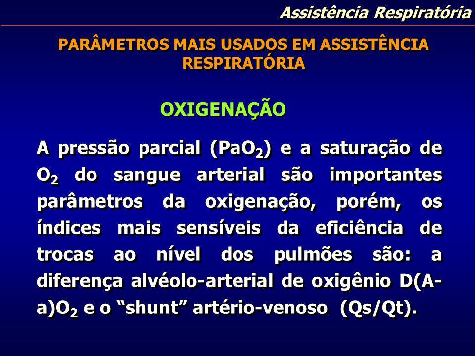 Assistência Respiratória PARÂMETROS MAIS USADOS EM ASSISTÊNCIA RESPIRATÓRIA A pressão parcial (PaO 2 ) e a saturação de O 2 do sangue arterial são imp