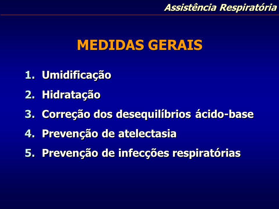 Assistência Respiratória MEDIDAS GERAIS 1. Umidificação 2. Hidratação 3. Correção dos desequilíbrios ácido-base 4. Prevenção de atelectasia 5. Prevenç
