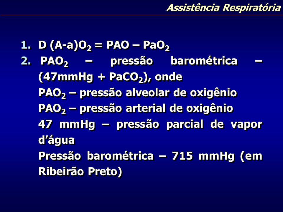 Assistência Respiratória 1.D (A-a)O 2 = PAO – PaO 2 2. PAO 2 – pressão barométrica – (47mmHg + PaCO 2 ), onde PAO 2 – pressão alveolar de oxigênio PAO