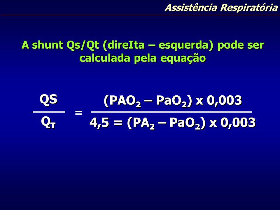 Assistência Respiratória A shunt Qs/Qt (direIta – esquerda) pode ser calculada pela equação QS Q T QS Q T (PAO 2 – PaO 2 ) x 0,003 4,5 = (PA 2 – PaO 2