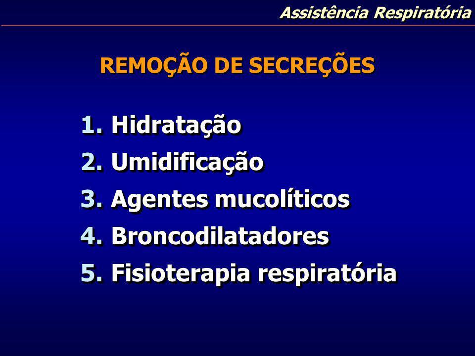 Assistência Respiratória REMOÇÃO DE SECREÇÕES 1. Hidratação 2. Umidificação 3. Agentes mucolíticos 4. Broncodilatadores 5. Fisioterapia respiratória 1