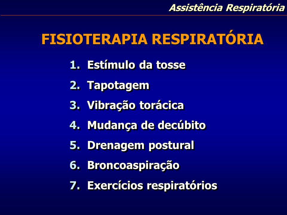 Assistência Respiratória FISIOTERAPIA RESPIRATÓRIA 1. Estímulo da tosse 2. Tapotagem 3. Vibração torácica 4. Mudança de decúbito 5. Drenagem postural
