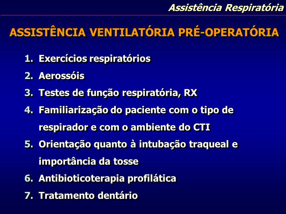 Assistência Respiratória ASSISTÊNCIA VENTILATÓRIA PÓS-OPERATÓRIA PÓS-OPERATÓRIA 1.PPI 2.PPI + PEEP 3.PEEP espontâneo 4.CPAP 5.IMV 6.IMV + PEEP 1.PPI 2.PPI + PEEP 3.PEEP espontâneo 4.CPAP 5.IMV 6.IMV + PEEP