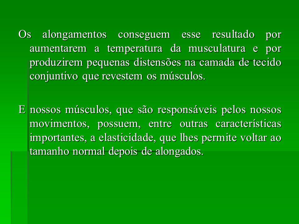 Os alongamentos conseguem esse resultado por aumentarem a temperatura da musculatura e por produzirem pequenas distensões na camada de tecido conjuntivo que revestem os músculos.