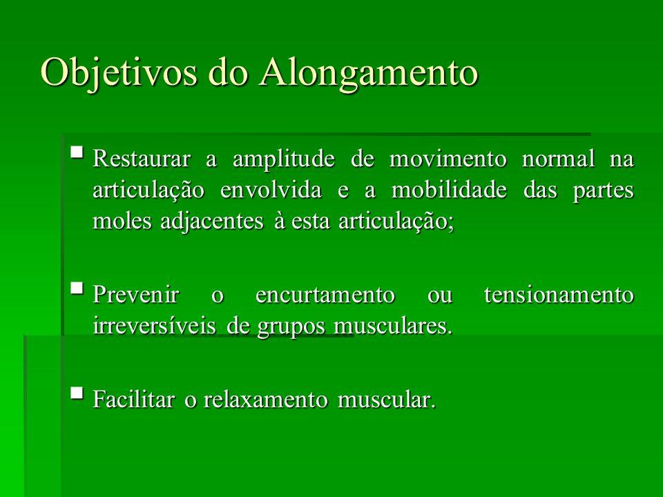 Objetivos do Alongamento  Restaurar a amplitude de movimento normal na articulação envolvida e a mobilidade das partes moles adjacentes à esta articulação;  Prevenir o encurtamento ou tensionamento irreversíveis de grupos musculares.