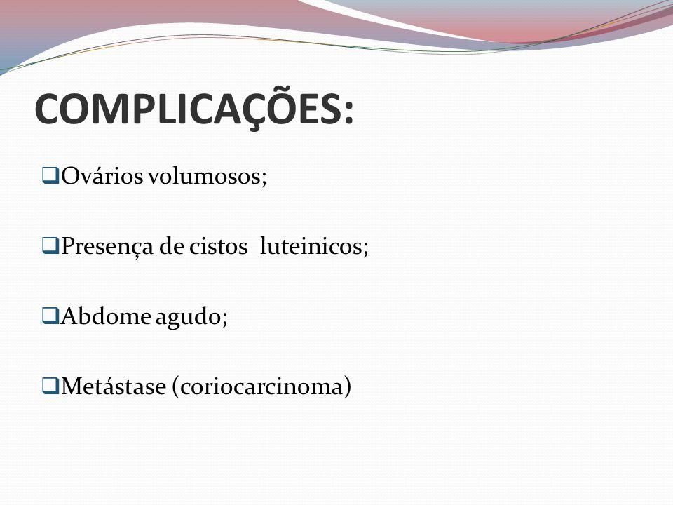 COMPLICAÇÕES:  Ovários volumosos;  Presença de cistos luteinicos;  Abdome agudo;  Metástase (coriocarcinoma)