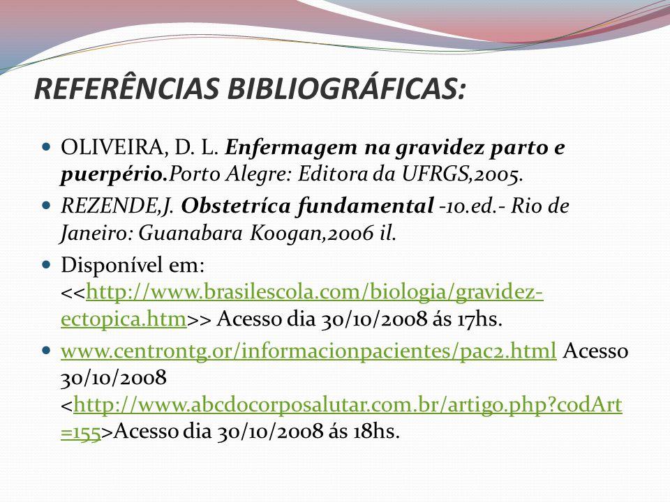 REFERÊNCIAS BIBLIOGRÁFICAS: OLIVEIRA, D.L.