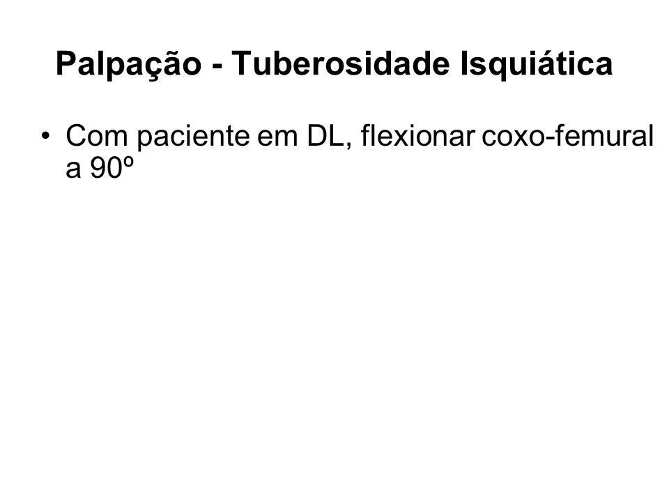 Palpação - Tuberosidade Isquiática Com paciente em DL, flexionar coxo-femural a 90º