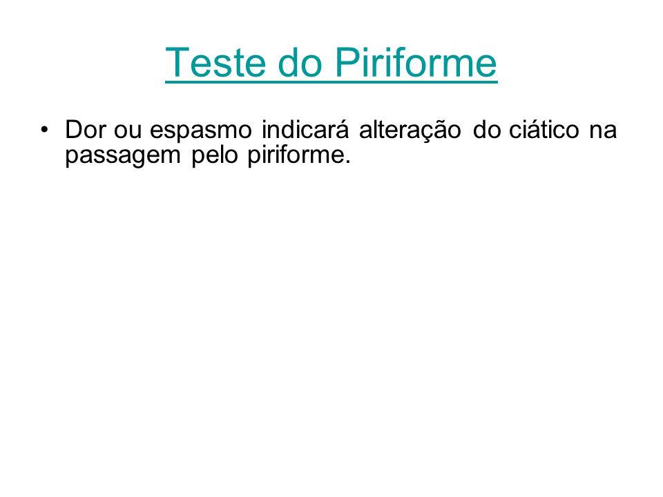 Teste do Piriforme Dor ou espasmo indicará alteração do ciático na passagem pelo piriforme.