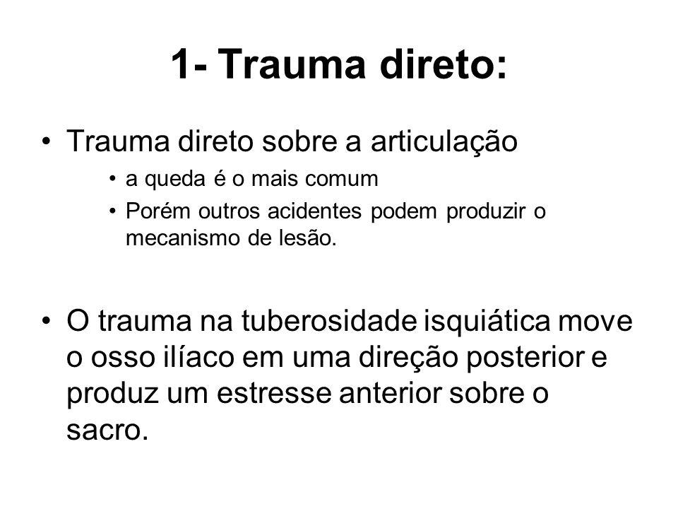 1- Trauma direto: Trauma direto sobre a articulação a queda é o mais comum Porém outros acidentes podem produzir o mecanismo de lesão. O trauma na tub