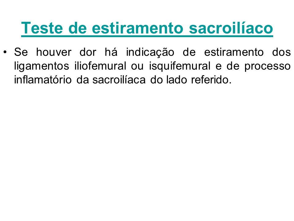 Teste de estiramento sacroilíaco Se houver dor há indicação de estiramento dos ligamentos iliofemural ou isquifemural e de processo inflamatório da sa