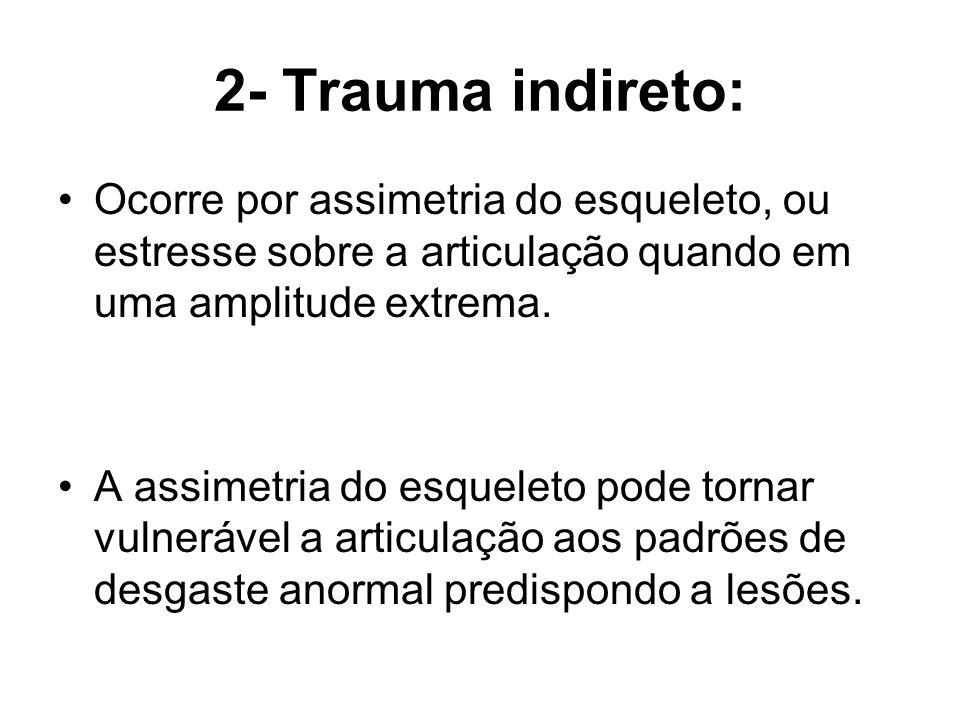 2- Trauma indireto: Ocorre por assimetria do esqueleto, ou estresse sobre a articulação quando em uma amplitude extrema. A assimetria do esqueleto pod