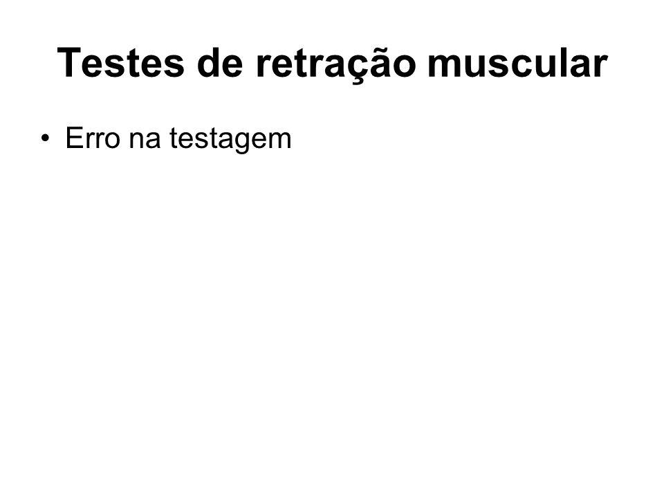 Testes de retração muscular Erro na testagem
