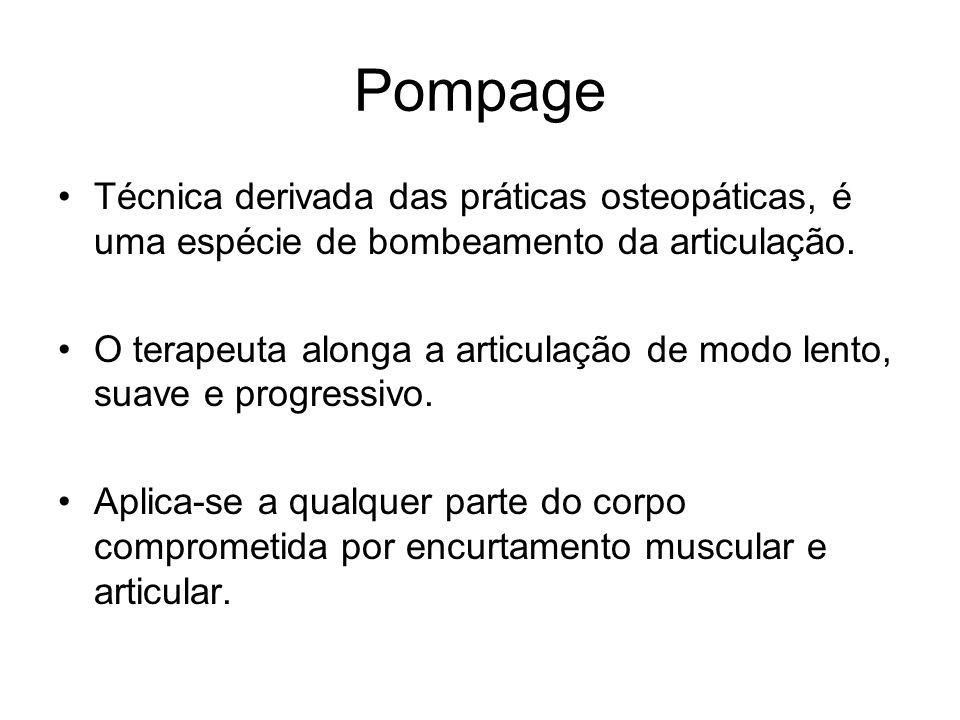 Pompage Técnica derivada das práticas osteopáticas, é uma espécie de bombeamento da articulação. O terapeuta alonga a articulação de modo lento, suave