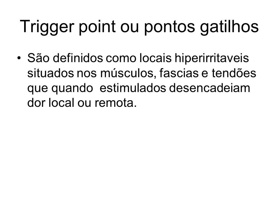 Trigger point ou pontos gatilhos São definidos como locais hiperirritaveis situados nos músculos, fascias e tendões que quando estimulados desencadeia