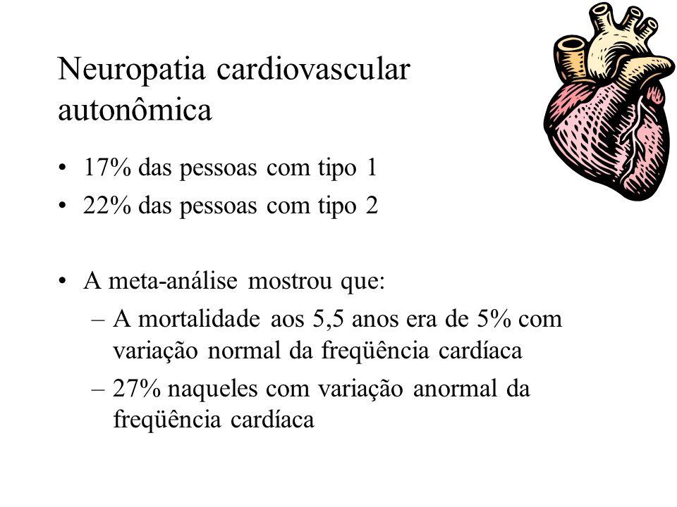 Neuropatia cardiovascular autonômica 17% das pessoas com tipo 1 22% das pessoas com tipo 2 A meta-análise mostrou que: –A mortalidade aos 5,5 anos era