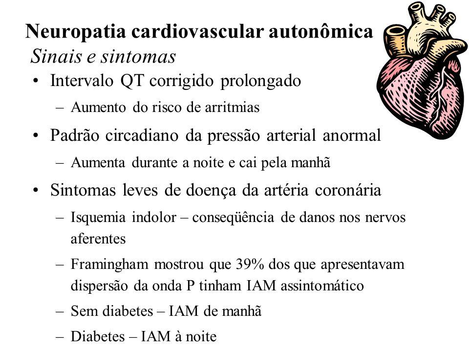 Neuropatia cardiovascular autonômica Sinais e sintomas Intervalo QT corrigido prolongado –Aumento do risco de arritmias Padrão circadiano da pressão arterial anormal –Aumenta durante a noite e cai pela manhã Sintomas leves de doença da artéria coronária –Isquemia indolor – conseqüência de danos nos nervos aferentes –Framingham mostrou que 39% dos que apresentavam dispersão da onda P tinham IAM assintomático –Sem diabetes – IAM de manhã –Diabetes – IAM à noite