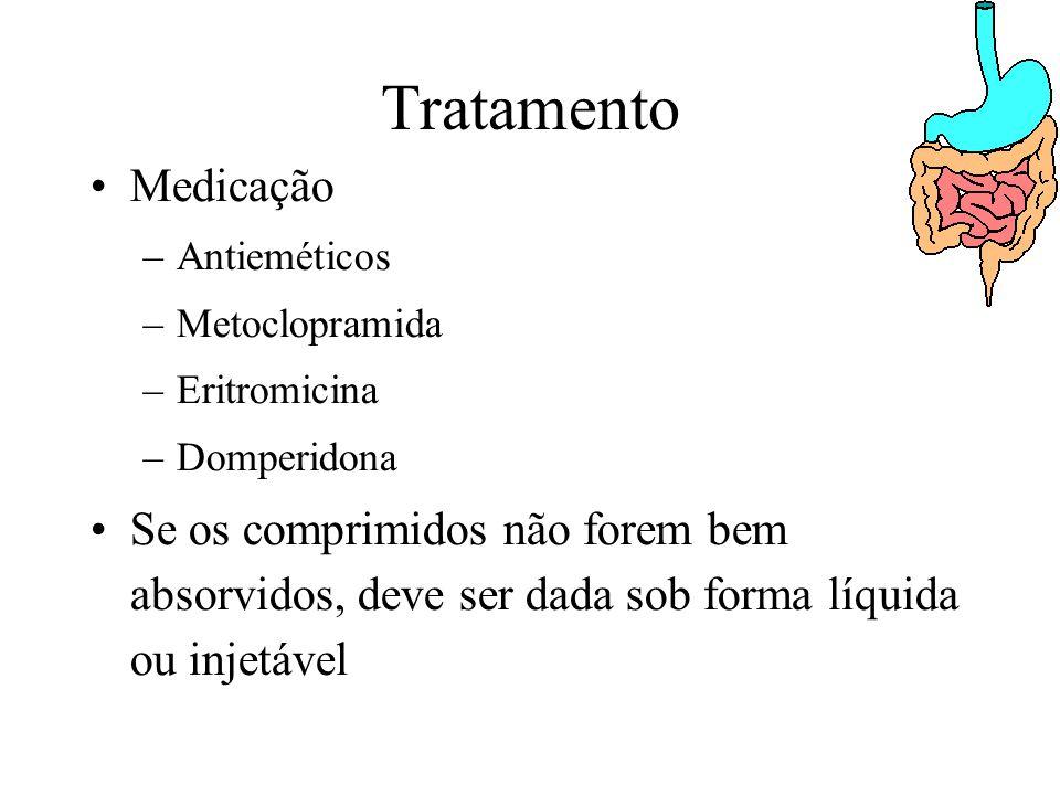 Tratamento Medicação –Antieméticos –Metoclopramida –Eritromicina –Domperidona Se os comprimidos não forem bem absorvidos, deve ser dada sob forma líquida ou injetável