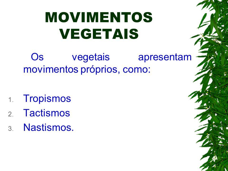 MOVIMENTOS VEGETAIS Os vegetais apresentam movimentos próprios, como: 1. Tropismos 2. Tactismos 3. Nastismos.