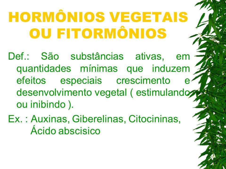Def.: São substâncias ativas, em quantidades mínimas que induzem efeitos especiais crescimento e desenvolvimento vegetal ( estimulando ou inibindo ).