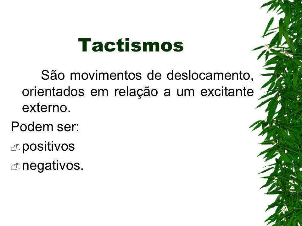 Tactismos São movimentos de deslocamento, orientados em relação a um excitante externo. Podem ser:  positivos  negativos.