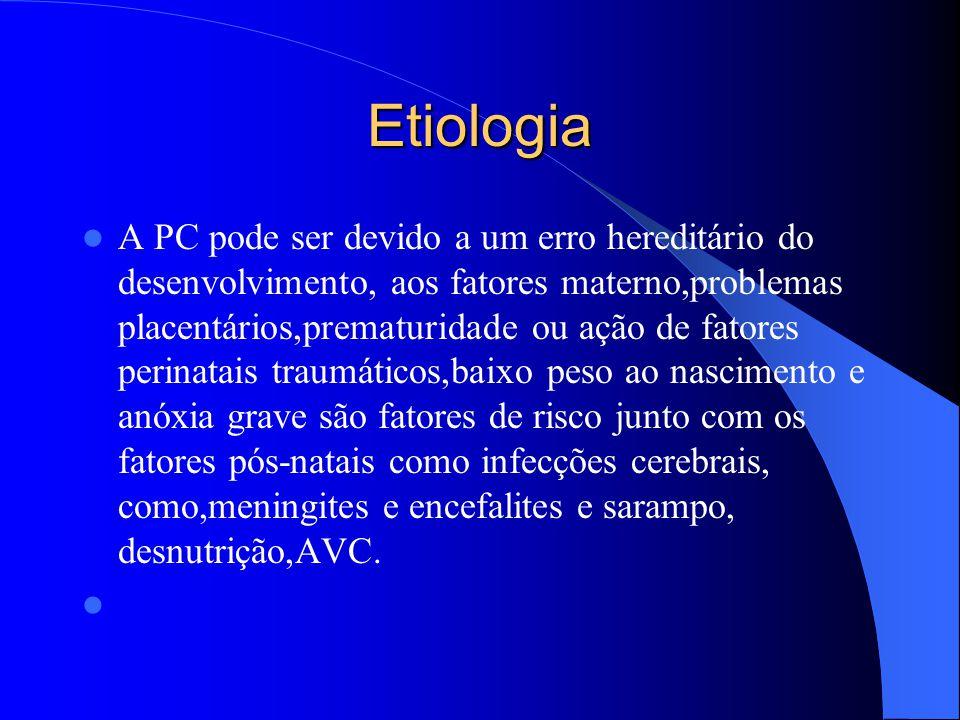 Etiologia A PC pode ser devido a um erro hereditário do desenvolvimento, aos fatores materno,problemas placentários,prematuridade ou ação de fatores p