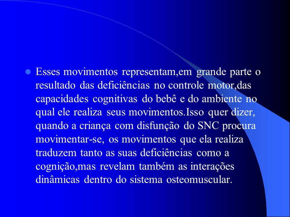 Esses movimentos representam,em grande parte o resultado das deficiências no controle motor,das capacidades cognitivas do bebê e do ambiente no qual e
