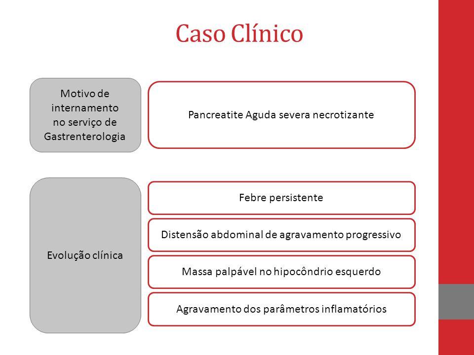 Motivo de internamento no serviço de Gastrenterologia Pancreatite Aguda severa necrotizante Caso Clínico Febre persistente Evolução clínica Distensão