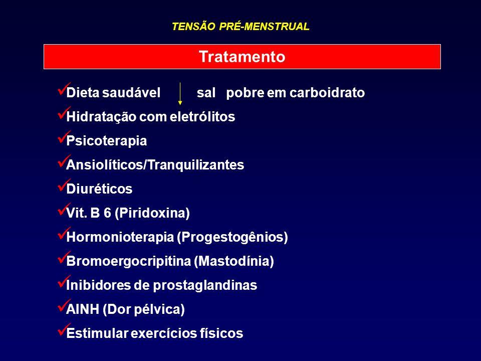 TENSÃO PRÉ-MENSTRUAL Tratamento Dieta saudável sal pobre em carboidrato Hidratação com eletrólitos Psicoterapia Ansiolíticos/Tranquilizantes Diurético