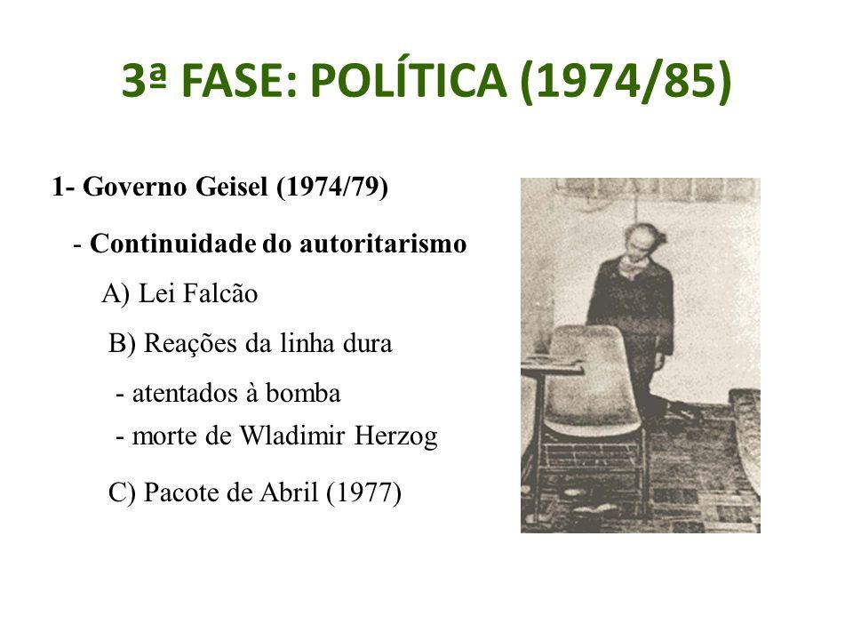 3ª FASE: POLÍTICA (1974/85) 1- Governo Geisel (1974/79) - Continuidade do autoritarismo A) Lei Falcão B) Reações da linha dura - atentados à bomba - morte de Wladimir Herzog C) Pacote de Abril (1977)