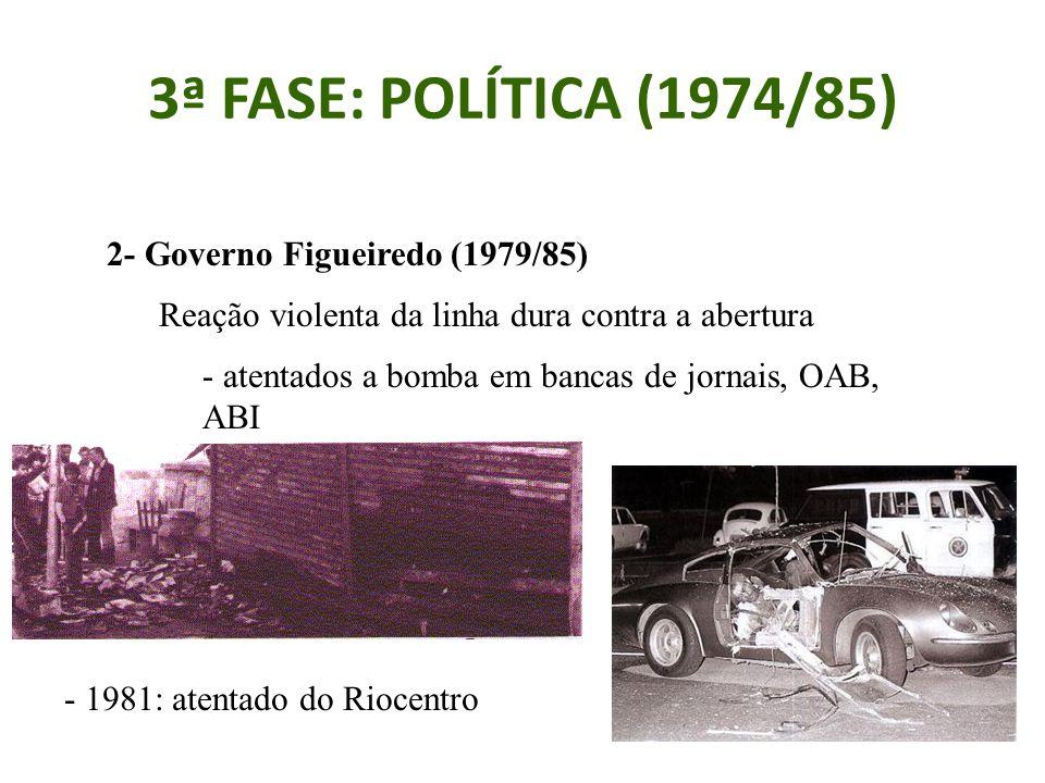 3ª FASE: POLÍTICA (1974/85) 2- Governo Figueiredo (1979/85) Reação violenta da linha dura contra a abertura - atentados a bomba em bancas de jornais, OAB, ABI - 1981: atentado do Riocentro