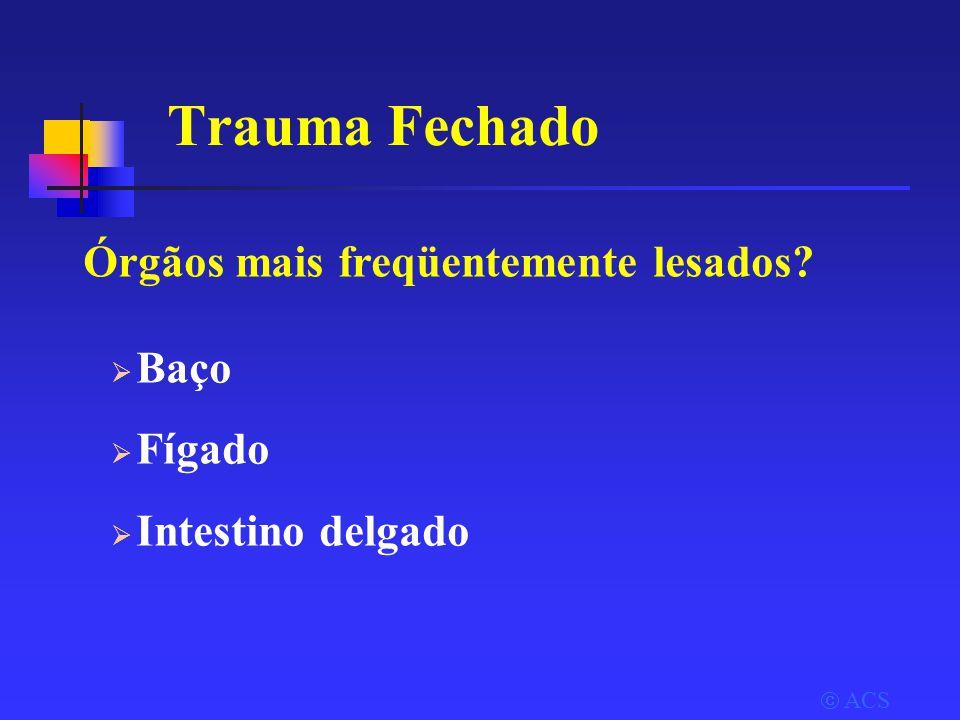 Trauma Fechado  ACS  Baço  Fígado  Intestino delgado Órgãos mais freqüentemente lesados?