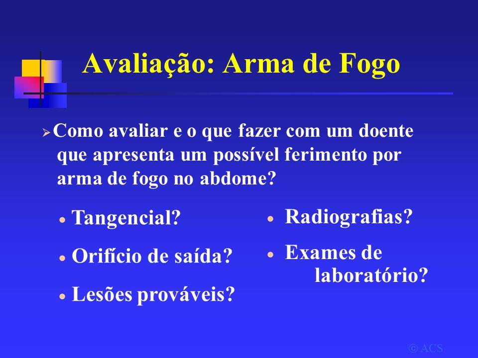Avaliação: Arma de Fogo  Radiografias. Exames de laboratório.