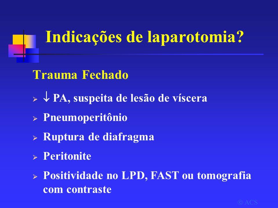  ACS Indicações de laparotomia.