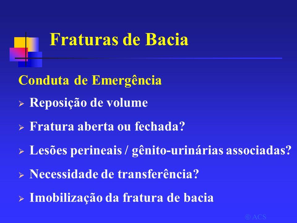  ACS Fraturas de Bacia Conduta de Emergência  Reposição de volume  Fratura aberta ou fechada.